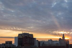 Beautiful sunset over Davenport, Iowa